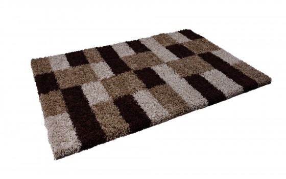 Beige-Brown-Squared-Design-Shaggy-Rugs-120x170cm