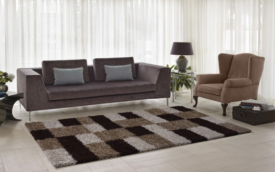 Beige-Brown-Squared-Design-Shaggy-Rugs-160x230cm