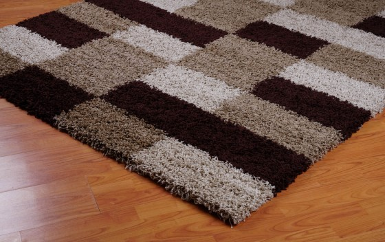 Beige-Brown-Squared-Design-Shaggy-Rugs-side