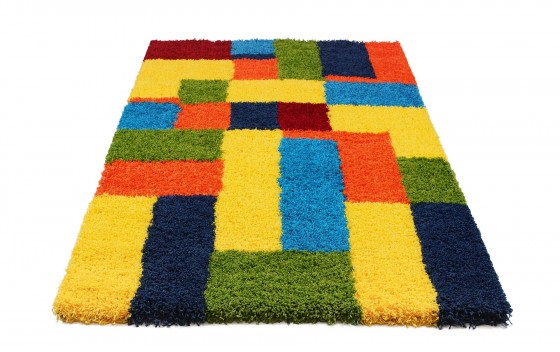 Multi-Coloured-Rectangle-Design-Shaggy-Rugs-60x220cm-Runners