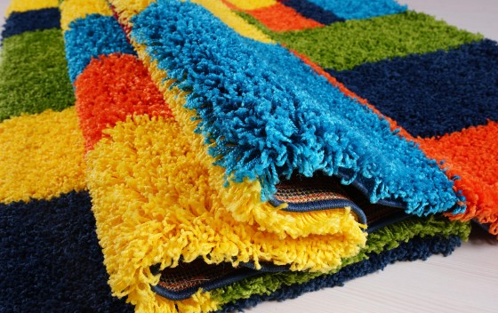 Multi-Coloured-Rectangle-Design-Shaggy-Rugs-Pile-Height