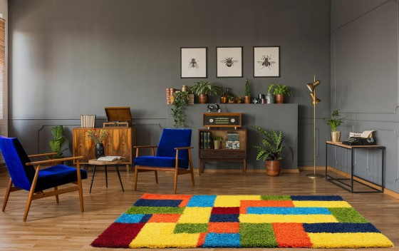 Multi-Coloured-Rectangle-Design-Shaggy-Rugs-120x170cm-in-Room